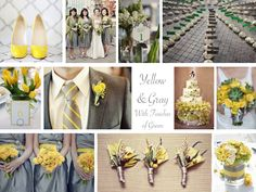 items that are the color yellow   Inspiration Board: Yellow & Gray With Green - Every Last Detail