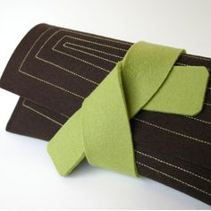 Chocolate Brown Felt Envelope Clutch with Green Tie. $45.00, via Etsy.