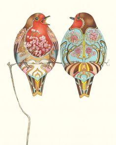 How did the robin acquire its red breast? In Christian tradition, it is thought that a robin tried to remove the crown of thorns from Jesus' head during the Crucifixion; drops of Christ's blood stained his breast forever. Bird Illustration, Watercolor Illustration, Watercolor Paintings, European Robin, World Mythology, Japanese Prints, Arts And Crafts Movement, Bird Art, Folk Art