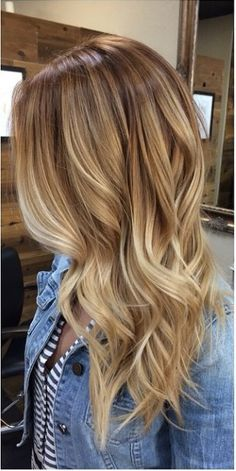 Light brown base with graduated blonde highlights