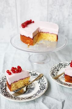 Pastel-pink cheesecake/coconut sponge hybrid. Perfect for any Pink Parties in aid of Breast Cancer Awareness