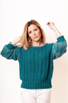 Sweater Handmade Wool Sweater Knitted Clothing SALE Sweater for Women,Christmas Gift Hand Knitted Tunic Gift for Women Winter Clothes