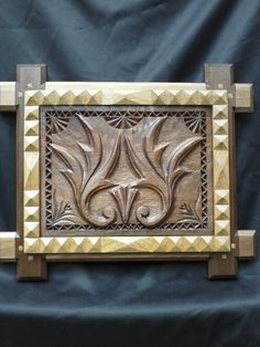 Walnut and Oak Hand Carved Art Wood Wall by LiebermannWoodworks