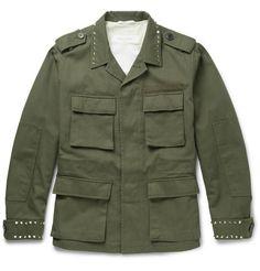 VALENTINO Studded Cotton-Canvas Field Jacket. #valentino #cloth #coats and jackets