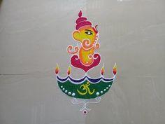 Shree Ganesh Rangoli | Rangoli for Ganesh Utsav | Designer Rangoli - YouTube Ganesh Rangoli, Ganesh Utsav, Shree Ganesh, Good Morning Happy, Rangoli Designs, Candles, Christmas Ornaments, Holiday Decor, Simple