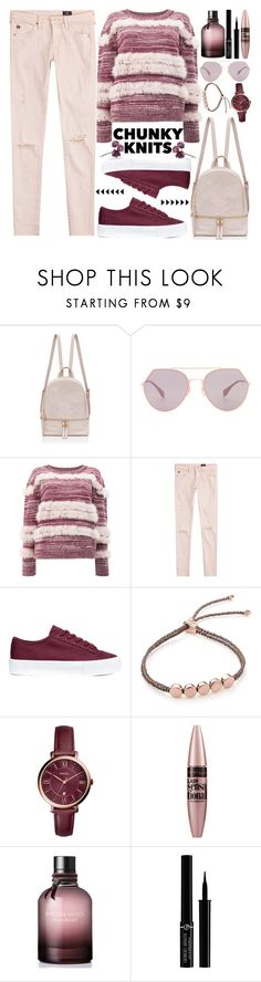 """""""Get Cozy: Chunky sweater"""" by nvoyce ❤ liked on Polyvore featuring Fendi, Maison Ullens, AG Adriano Goldschmied, H&M, Monica Vinader, FOSSIL, Maybelline, Bottega Veneta, Giorgio Armani and chunkyknits"""