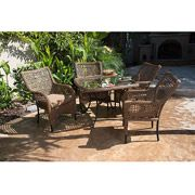 A great addition to your outdoor space is the Vineyard 5-Piece Woven Patio Dining Set. It includes four dining chairs accompanied by a beautifully crafted 40-inch round woven underglass decoration table. It's perfect for outdoor entertaining. See coordinating Vineyard Collection pieces.  http://www.vmarketingsite.com/blog/post/3553104