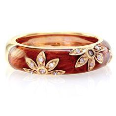Hidalgo-Sienna-Brown-Enamel-Flower-Band-Ring-with-Diamonds-in-18K-Rose-Pink-Gold