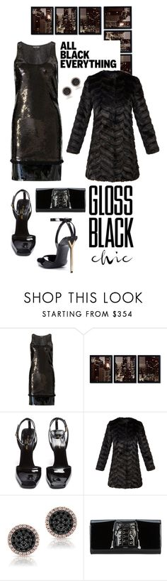 """Monochrome: All Black Everything"" by shortyluv718 ❤ liked on Polyvore featuring Tom Ford, Trademark Fine Art, Yves Saint Laurent, Unreal Fur, Perrin and allblack"