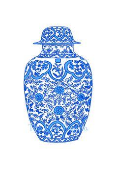 Ming Chinoiserie Blue Ginger Jar on White