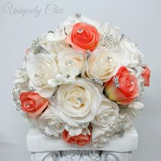 Wedding bouquet Broach bouquet White and coral rose