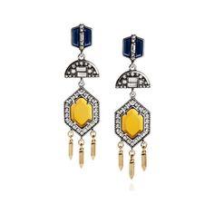Grand Cabaret Statement Drop Earrings | Chloe + Isabel ($52) via Polyvore featuring jewelry, earrings, yellow gold earrings, blue jewelry, gold earrings, gold jewellery and drop earrings