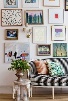 love all of the colors, ideas, shapes coming together like this. and especially the side table!