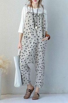 Summer Women Printed Linen Overalls Loose Suspender Casual Pants 727