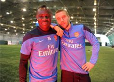 Frimpong & Podolski During Commercial Duties at London Colney.