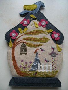 cross stitch with wool felt finishing - beautiful!