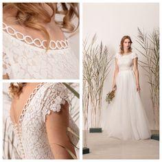 Floral lace bridal dress lace look