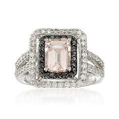 Ross-Simons - 1.40 Carat Morganite and .78 ct. t.w. Black and White Diamond Ring in 14kt White Gold - #781410