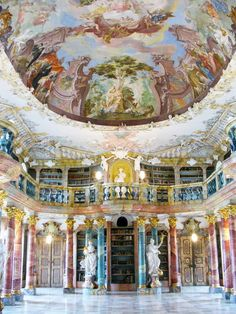 Wiblingen Monastery Library in former former Benedictine abbey, designed by Baroque architect Christian Wiedemann and completed 1744, Ulm, Germany