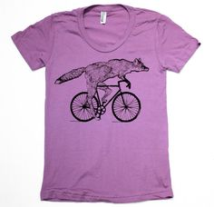 Fox sur un vélo - orchidée American Apparel Shirt - Ladies T-Shirt - FREE SHIPPING - disponible en S, M, L, XL