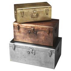 3-Piece Metallic Storage Trunk Set