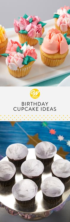Cupcakes are the perfect single serving of birthday cake. Get creative with these birthday treats and turn them into something special! Gourmet Cupcakes, Yummy Cupcakes, Cupcake Recipes, Cupcake Ideas, School Birthday Treats, Birthday Desserts, Birthday Cake, Cupcake Frosting, Cupcake Cakes
