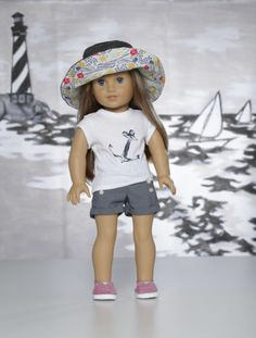 """Going The Nautical Mile OOAK Outfit for 18"""" Dolls Bonjour Teaspoon Anchors Away 