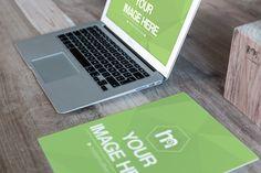 Laptop and Paper on Desk Mockup - Mediamodifier - Online mockup generator
