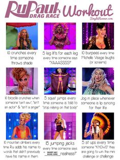 Today is the premiere date for the season of my favorite TV show – RuPaul's Drag Race, so I figured I could make a little workout for it. I wanted to make one that would work for pr… - Photo Archive X Drag Racing Quotes, Rupaul Drag Race Quotes, Rupaul Quotes, Tv Show Workouts, Netflix Workout, Rupaul Drag Queen, Jogging In Place, Bae, Bicycle Crunches