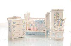 Pastel Baby Nursery INNOCENT DREAMS Hand-Painted Dollhouse Miniature Crib Set. $209.00, via Etsy.