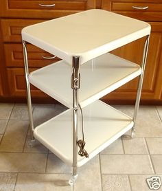 Vtg. COSCO Kitchen 3 Tier Utility Cart w/Plug Rolling Metal & Chrome