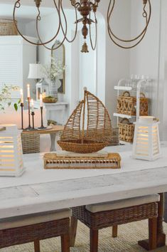 Early Spring Home Decorating Ideas - Fox Hollow Cottage Home Tour - Simple, Affordable Seasonal Updates #springhometour #springdecoratingideas #simplehome #easydecoratingtips Spring Home, Early Spring, Coastal Style, Coastal Decor, White Console Table, Bright Decor, Decor Crafts, Home Decor, Simple House