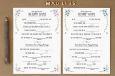 Free wedding madlibs download