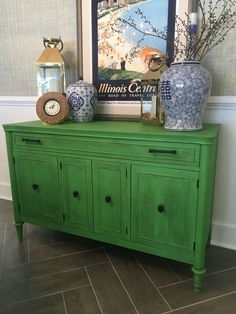 Buffet painted in Annie Sloan Antibes Green