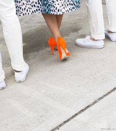 Dior Cruise Show, orange heels, leopard print dress / Garance Doré