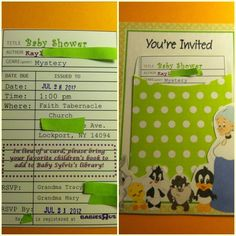 Looney Tunes Babies Baby Shower Invitation Library card pocket and Card for information. Baby Shower Themes, Baby Boy Shower, Shower Ideas, Mystery Date, Baby Looney Tunes, Baby Shower Invitations, Invites, Library Card, Youre Invited
