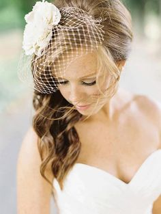 Ellie bridal hair piece wedding flower by ButtonsnBlossoms on Etsy... And I love how her hair is