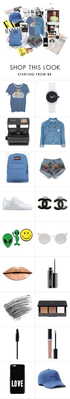 """Jeans!"" by panic1atthefroot ❤ liked on Polyvore featuring Anja, Bela, Junk Food Clothing, Nixon, Impossible, Topshop, JanSport, NIKE, Chanel and Kosha"