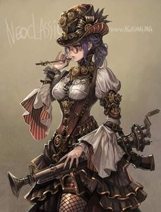 A person named Asagang created this Steampunk anime girl. Moda Steampunk, Gato Steampunk, Steampunk Drawing, Steampunk Kunst, Steampunk Artwork, Style Steampunk, Victorian Steampunk, Steampunk Clothing, Steampunk Fashion