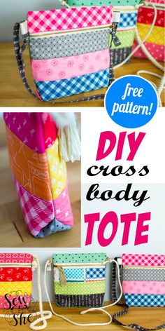 Bag Patterns To Sew, Sewing Patterns Free, Free Sewing, Pattern Sewing, Handbag Patterns, Fabric Wallet, Fabric Bags, Fabric Scraps, Scrap Fabric Projects