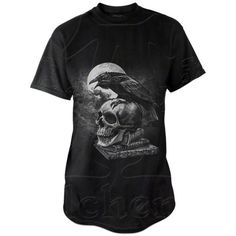 Poe's Raven T-Shirt ($30) ❤ liked on Polyvore featuring tops, t-shirts, skull tee, skull graphic tees, skull print t shirt, skull top and skull t shirt
