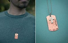 Boys Cross Necklace, Boys Confirmation or First Communion Gift, Copper Dog Tag Cross Necklace for Boys, Hand Stamped ...