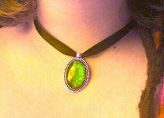 Green cabochon glass Romania, Handmade Jewelry, Chokers, Glass, Green, Handmade Jewellery, Drinkware, Corning Glass, Jewellery Making