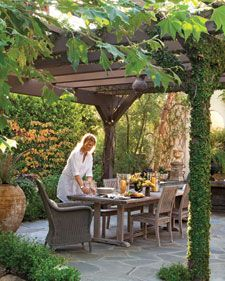 In its simplest form -- four posts and a slated roof -- an arbor is a breezy shelter, an open-air retreat for garden gazing, and a place to laze, protected from the sun.