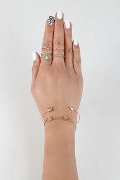 Delicate Arrow Bracelet And Ring Set $ 23.00