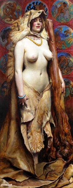 John Byam Liston Shaw - Omphale, 1914  Omphale (Ancient Greek: Ὀμφάλη) was a daughter of Iardanus, either a king of Lydia, or a river-god. Omphale was queen of the kingdom of Lydia in Asia Minor; according to Bibliotheke she was the wife of Tmolus, the oak-clad mountain king of Lydia; after he was gored to death by a bull, she continued to reign on her own.