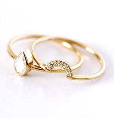 Pear Diamond Engagement Ring Bridal Wedding Ring Set by artemer