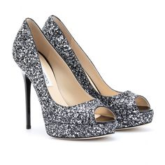 Jimmy Choo Glitter Platform Peep-toes. Wowza. Tracking them for that big night out?