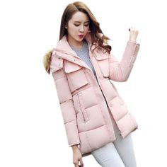 Clocolor Women's Winter Jacket Slim Long Sleeve Winter Coat Women with Fur Outwear Army Green Black Hood Warm Long Parkas M-3XL