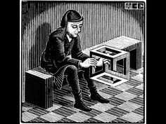 """Skot Foreman Gallery M. Escher """"Man with Cuboid"""" 1958 Print Wood engraving 2 x 2 in 8 x 7 cm Bool 430 © The M. Escher Company B. Mc Escher, Escher Kunst, Escher Art, Escher Prints, Mathematical Drawing, Dutch Artists, Wood Engraving, Op Art, Optical Illusions"""